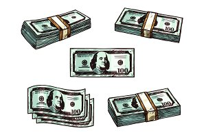 Dollars money banknote bundles vector sketch icons