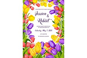 Spring flower banner for wedding invitation design