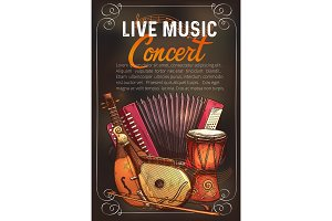 Vector music concert poster of sketch instruments