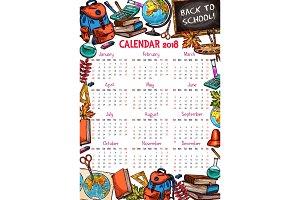 Back to School vector autumn 2018 calendar sketch