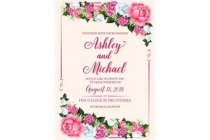 Rose flower frame for wedding invitation design