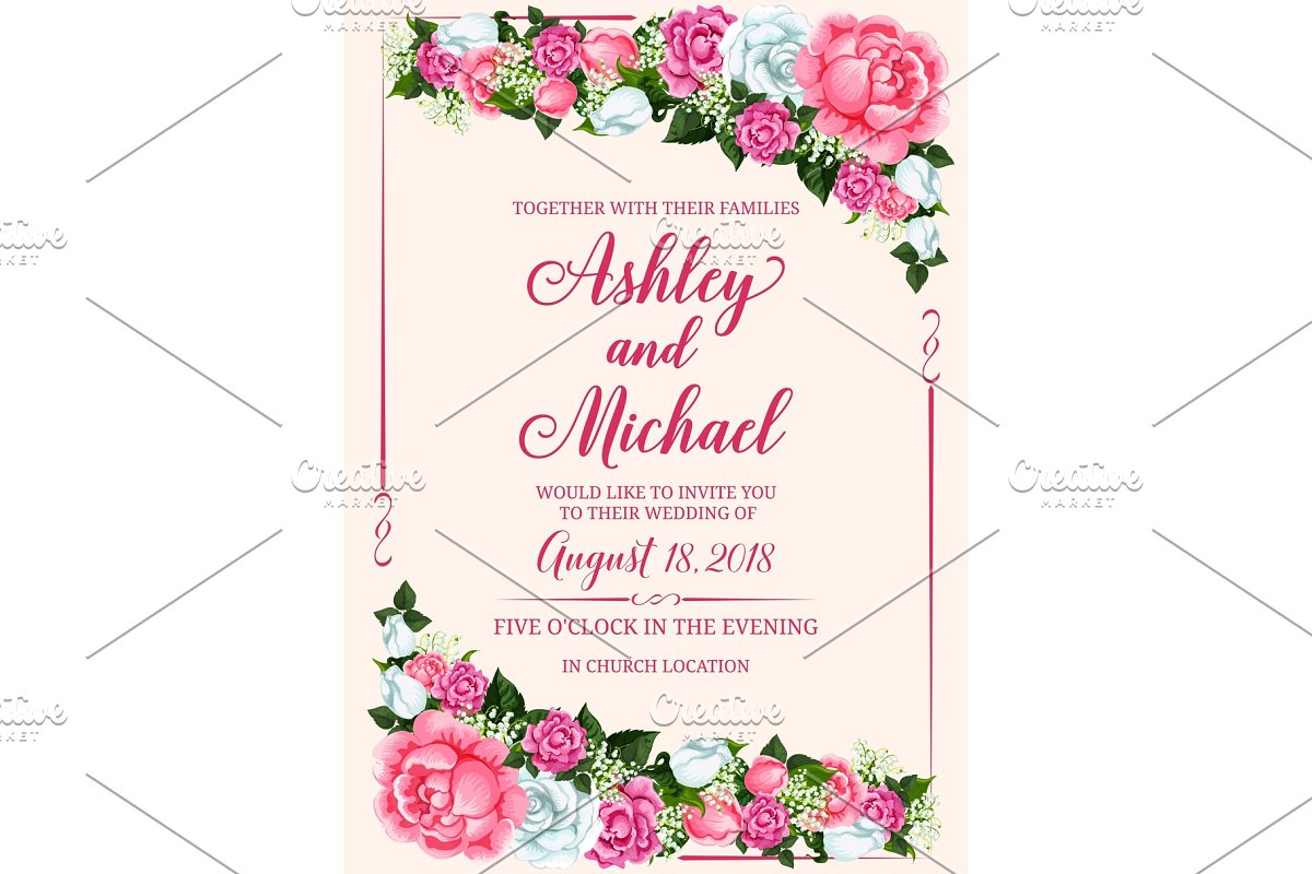 Rose Flower Frame For Wedding Invitation Design