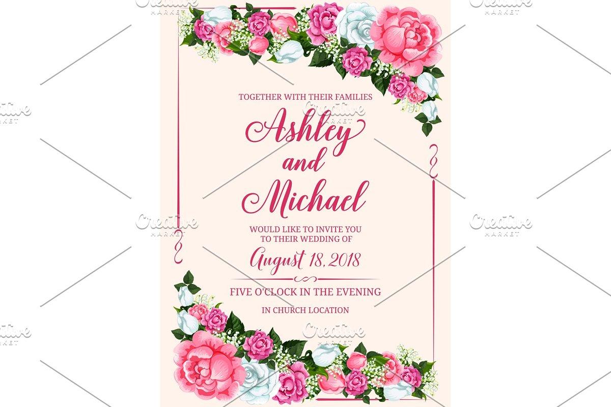 Wedding Invitation Design.Rose Flower Frame For Wedding Invitation Design