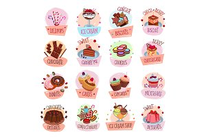 Vector pastry shop desserts cakes ice cream icons