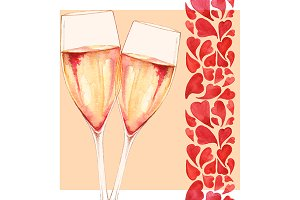 Watercolor two glasses of champagne