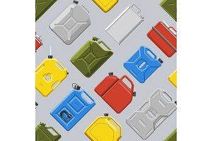 Canister vector jerrican or can of fuel gasoline for automobile and plastic jerrycan with petrol or oil illustration set of cannikin seamless pattern background