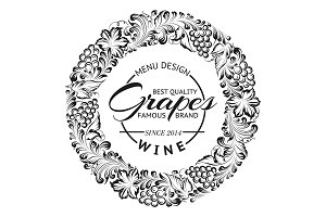Grapes design for wine menu.