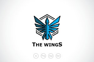 Blue Wings Logo Template