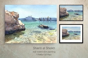 Watercolor sea Pearl of Egypt