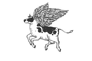 Flying cow farm animal engraving vector