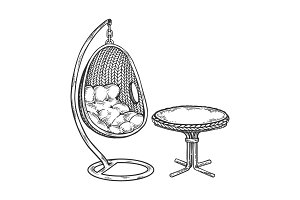 Pendant chair engraving vector illustration