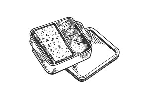 Lunchbox with food engraving vector illustration