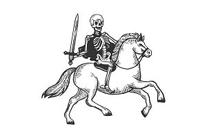 Skeleton warrior on horse engraving vector