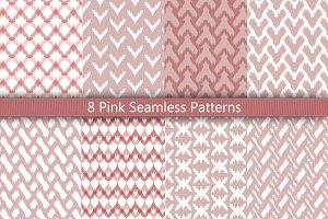 8 Pink Seamless Patterns Set