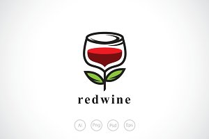Red Rose Wine Logo Template