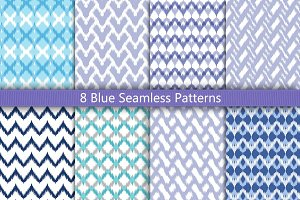 8 Blue Seamless Patterns Set