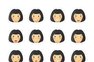 Woman cartoon emoticon set