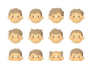 Man avatar icon set flat style