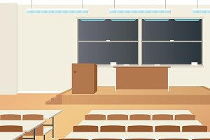 School classroom interior scene