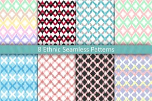 8 Ethnic Seamless Pattern Set