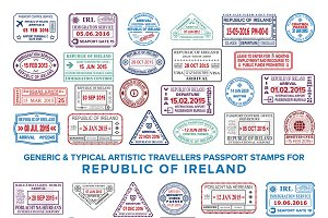 Ireland passport visa stamps set