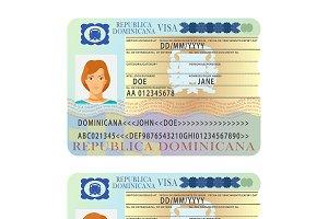 Dominicana visa sticker flat style