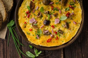 Fresh omelette, pickles mushrooms and chilli