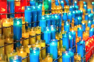 Many colorful candles