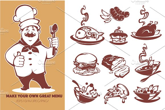 all for your own restaurant menu illustrations creative daddy
