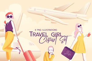 Travel girl clipart set