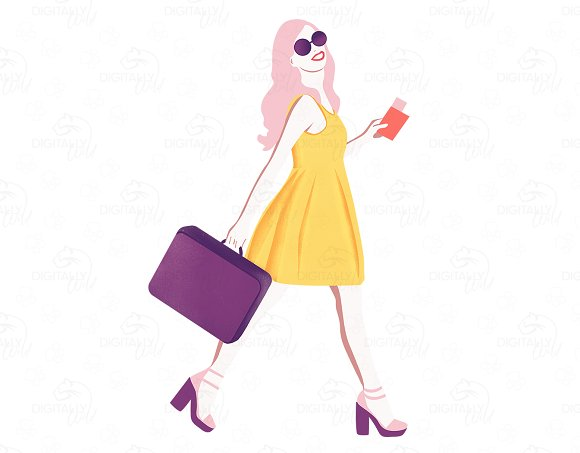 Image result for travel girl illustration