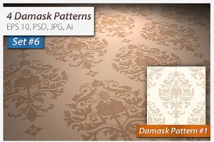 4 Seamless Damask Patterns Set#6