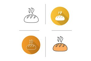 Fresh white round bread icon