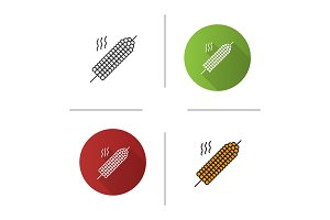 Grilled corn on skewer icon
