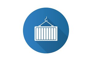 Intermodal container flat design long shadow glyph icon