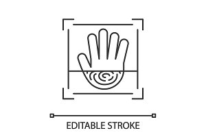 Biometric hand scanning linear icon