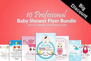 10 Baptism Baby Shower Invite Bundle