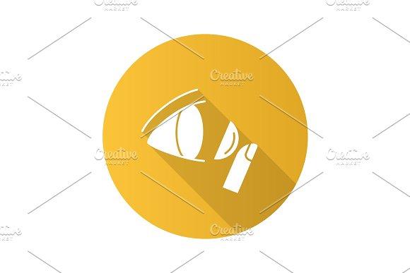 Eye contact lenses flat design long shadow glyph icon
