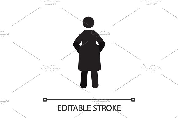 Pregnant woman in front view silhouette