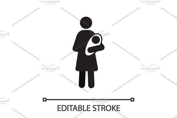 Mother with newborn baby silhouette