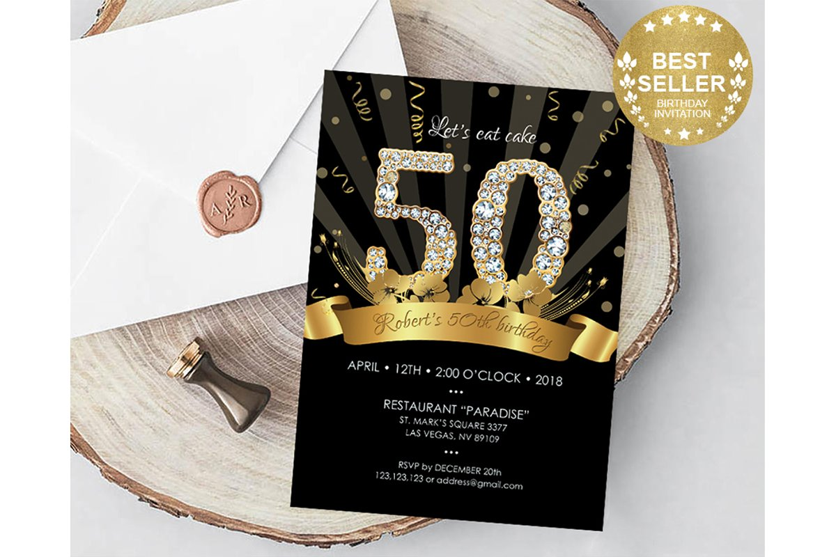 50th Birthday Invitation For Men Stationery Templates Creative