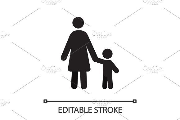 Mother with child in front view silhouette