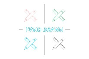 Ruler and pencil hand drawn icons set