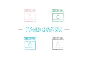 Printer cartridge ink hand drawn icons set