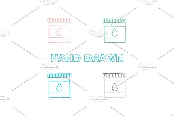 Printer cartridge ink hand drawn icons set