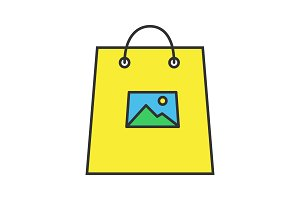 Printing on shopping bags color icon