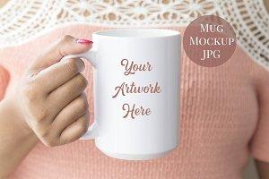 Woman holding 15oz Mug Mockup