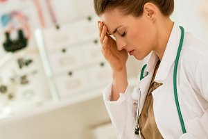 frustrated medical doctor woman