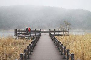 River in fog