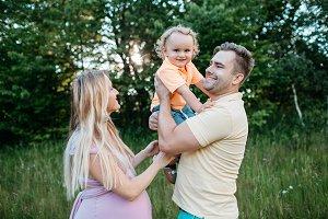 Family having fun in nature.
